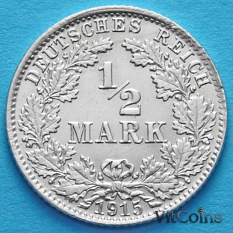 Монета Германии 1/2 марки 1915 год. Серебро. D.
