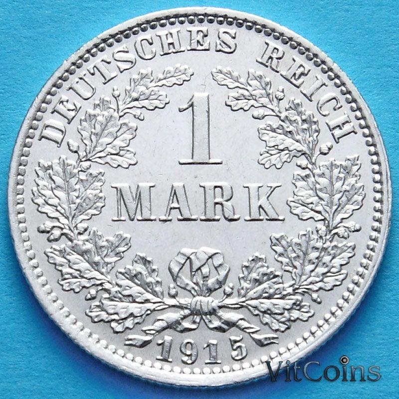 Монета Германии 1 марка 1915 год. Серебро Е.
