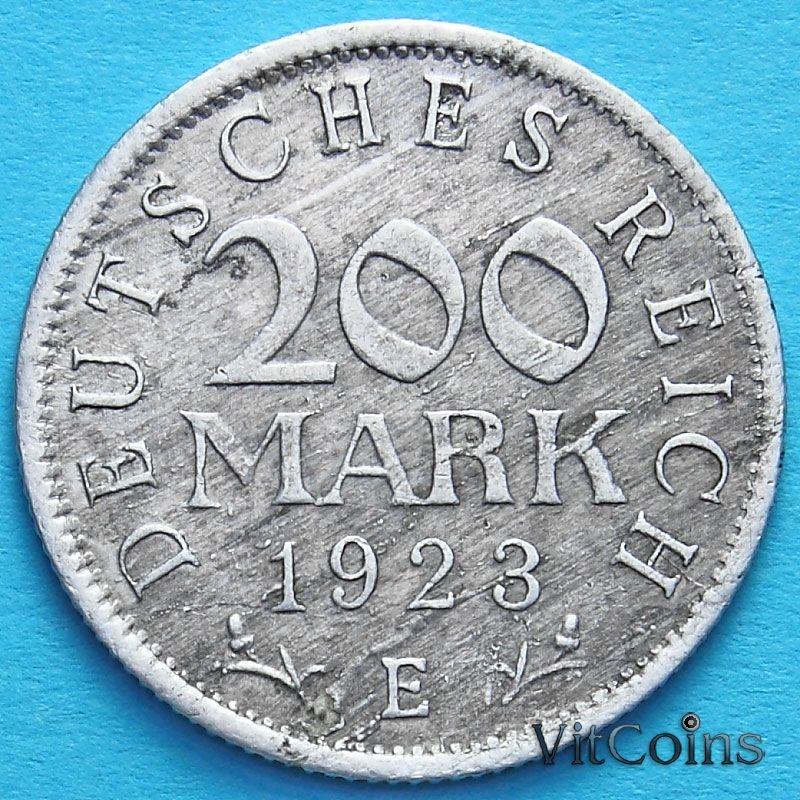 Монета Германии 200 марок 1923 год. Е.