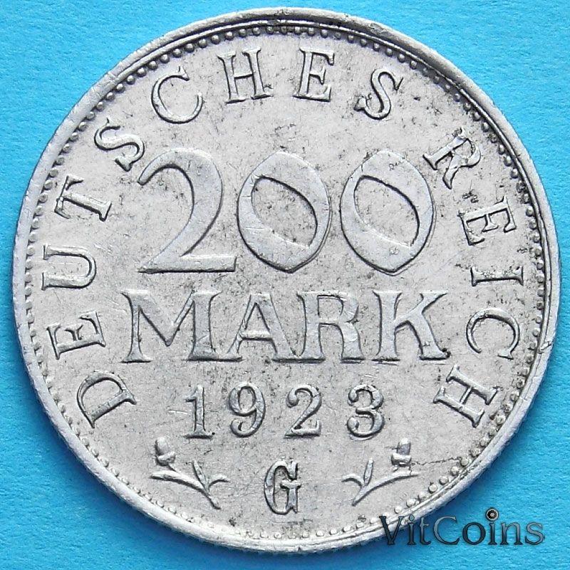 Монета Германии 200 марок 1923 год. G.