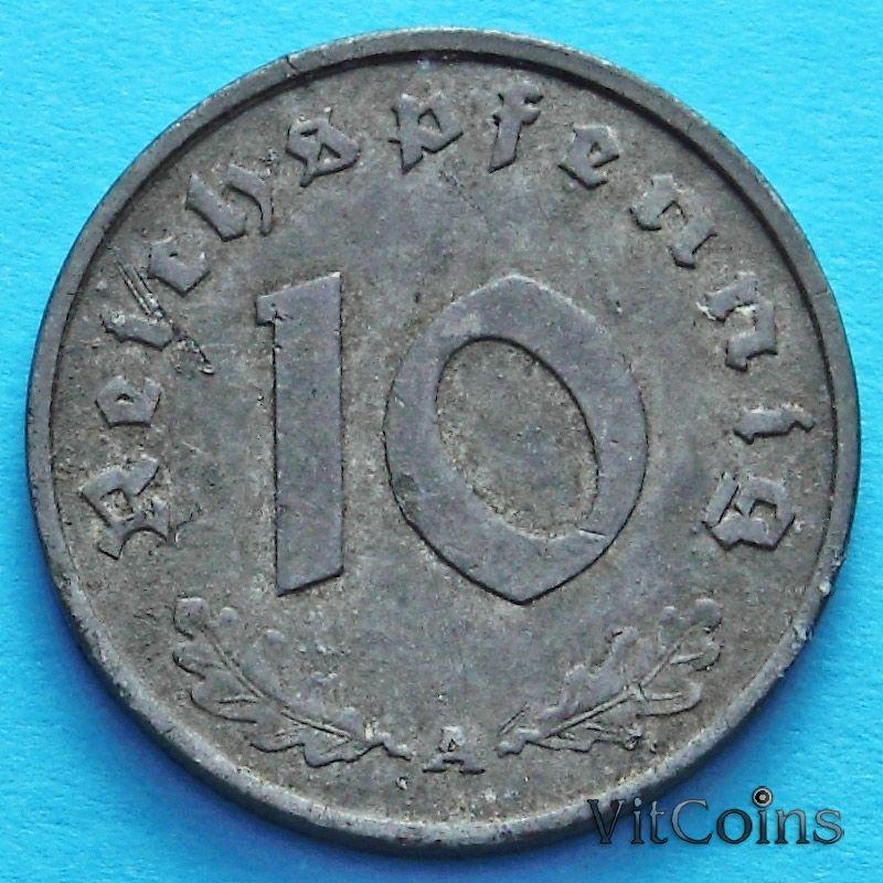 Монета Германии 10 рейхспфеннигов 1942 год. А.