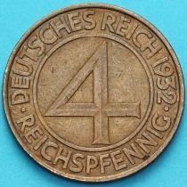 Германия 4 рейхспфеннига 1932 год. А