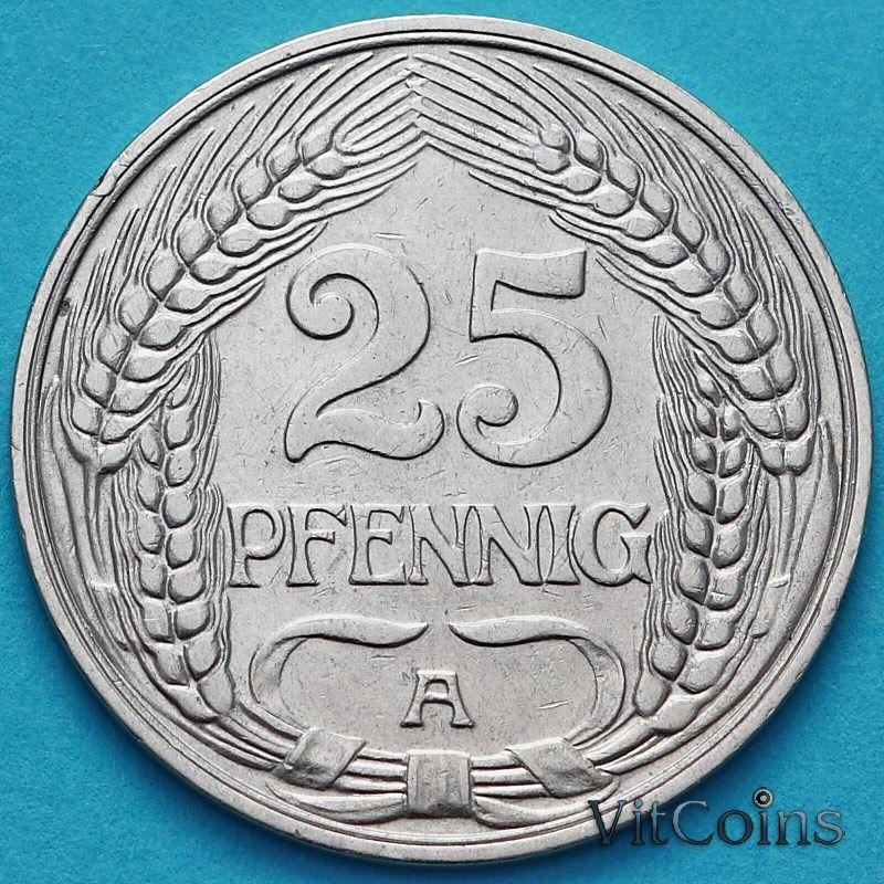 Монета Германия 25 пфеннигов 1910 год. А.