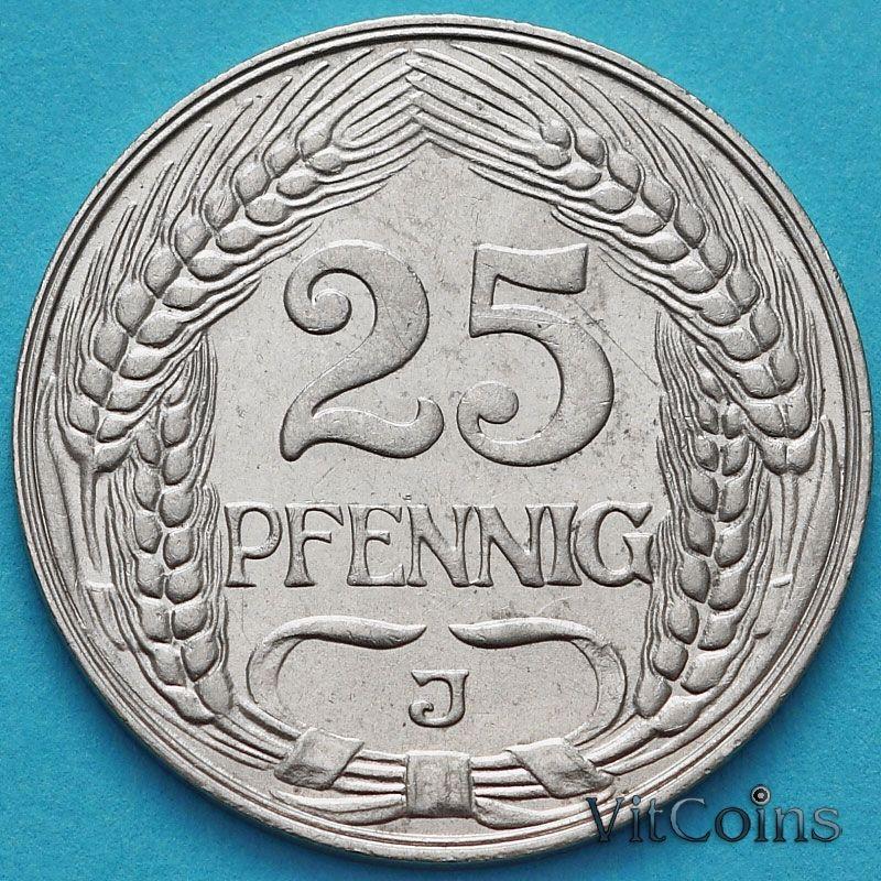 Монета Германия 25 пфеннигов 1910 год. J.