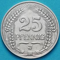 Германия 25 пфеннигов 1912 год. J.