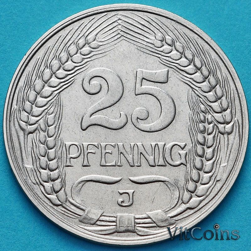 Монета Германия 25 пфеннигов 1912 год. J.