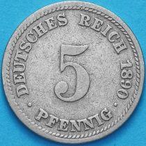 Германия 5 пфеннигов 1890 год. D.