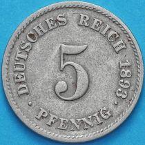 Германия 5 пфеннигов 1893 год. D.