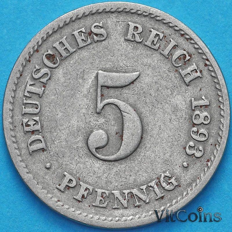 Монета Германии 5 пфеннигов 1893 год. D.