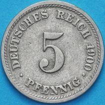Германия 5 пфеннигов 1900 год. Е