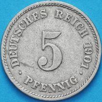 Германия 5 пфеннигов 1901 год. J
