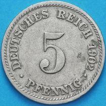 Германия 5 пфеннигов 1902 год. D.