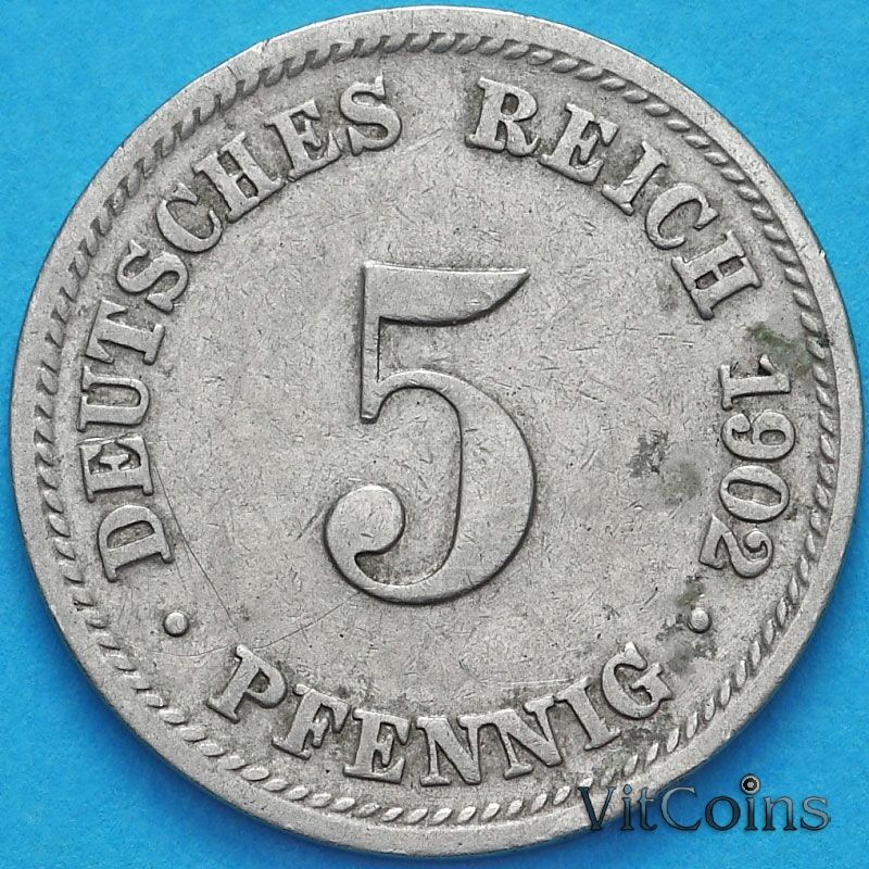 Монета Германии 5 пфеннигов 1902 год. D.