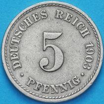 Германия 5 пфеннигов 1903 год. А