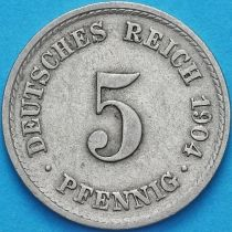 Германия 5 пфеннигов 1904 год. F