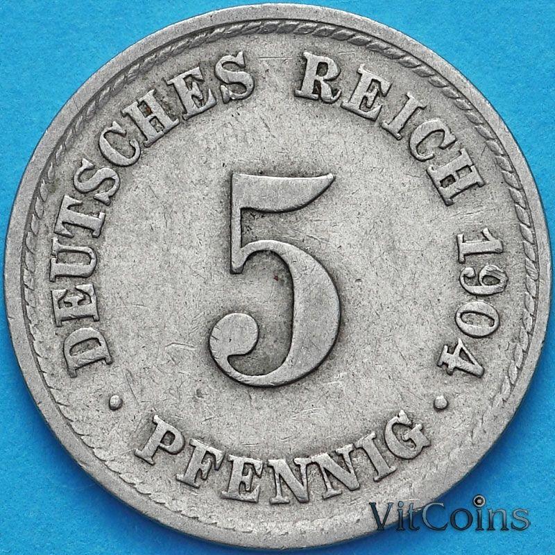 Монета Германии 5 пфеннигов 1904 год. F