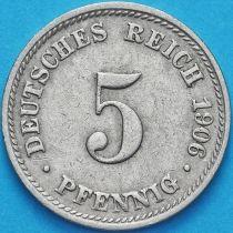 Германия 5 пфеннигов 1906 год. Е