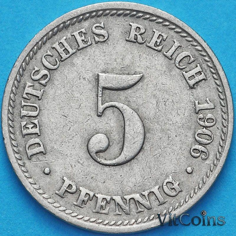Монета Германии 5 пфеннигов 1906 год. Е