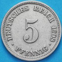 Германия 5 пфеннигов 1908 год. Е