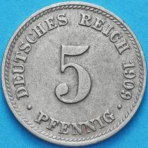Германия 5 пфеннигов 1909 год. А