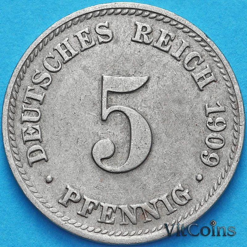 Монета Германии 5 пфеннигов 1909 год. D.