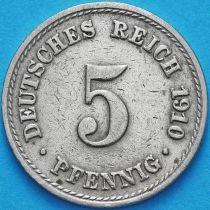 Германия 5 пфеннигов 1910 год. А