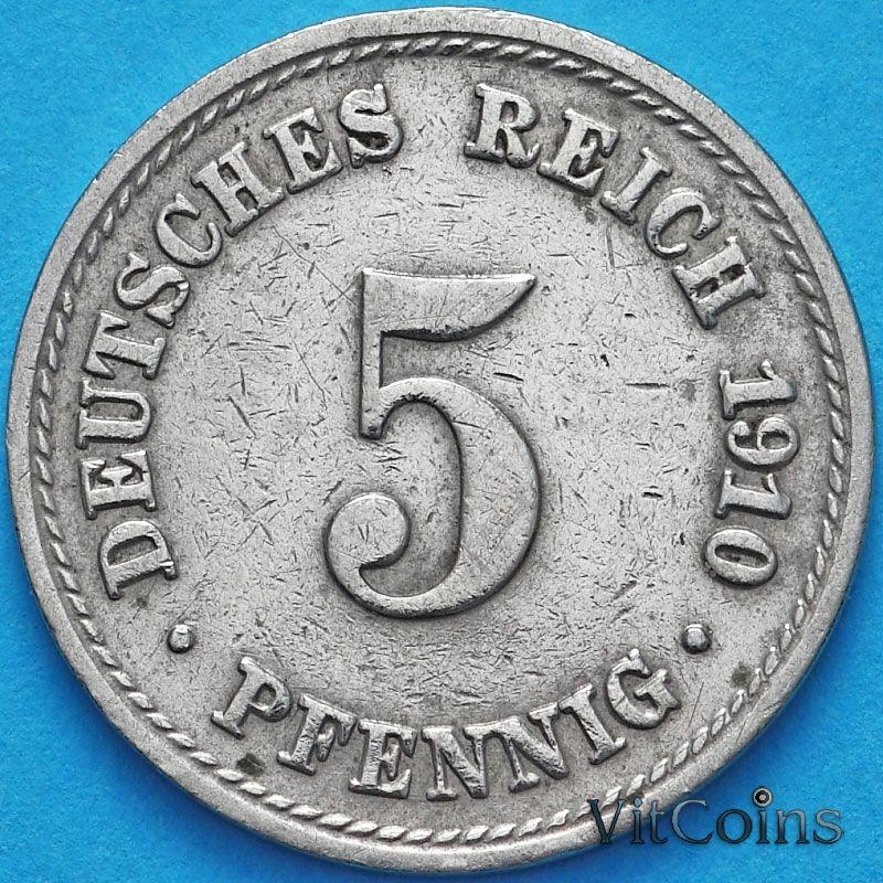 Монета Германии 5 пфеннигов 1910 год. F