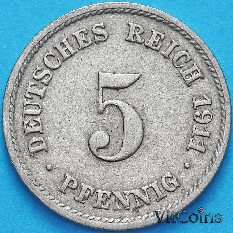 Монета Германии 5 пфеннигов 1911 год. D.