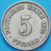 Германия 5 пфеннигов 1914 год. F