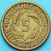 Германия 5 рейхспфеннигов 1924-1936 год.