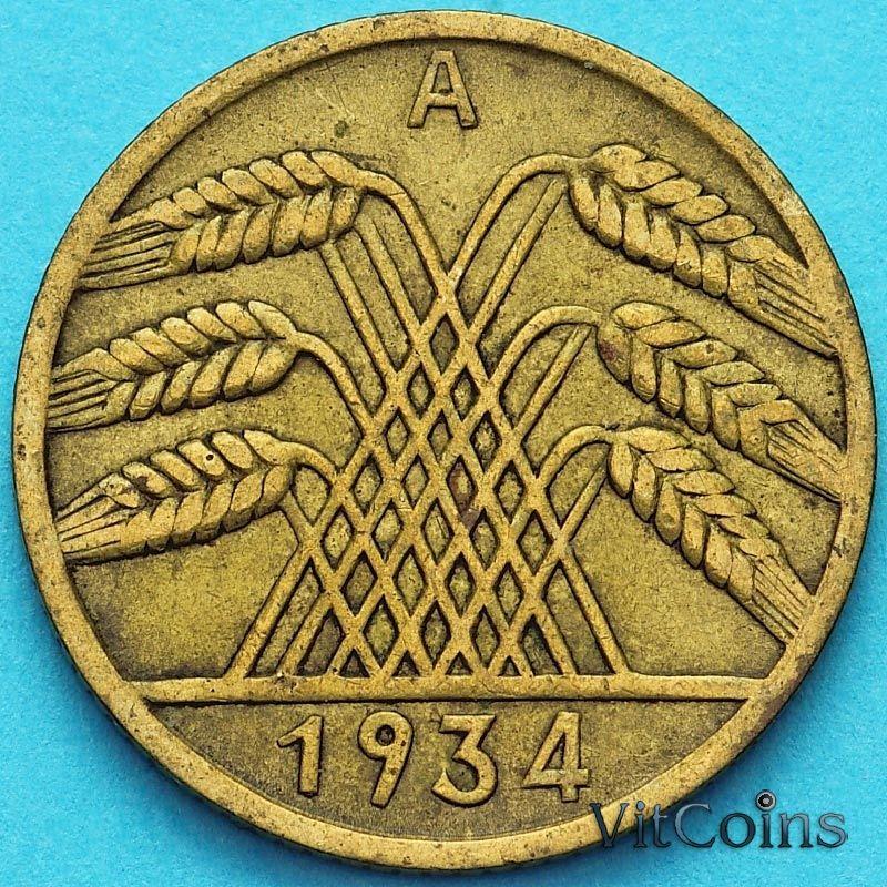 Монета Германия 10 рейхспфеннигов 1934 год. А