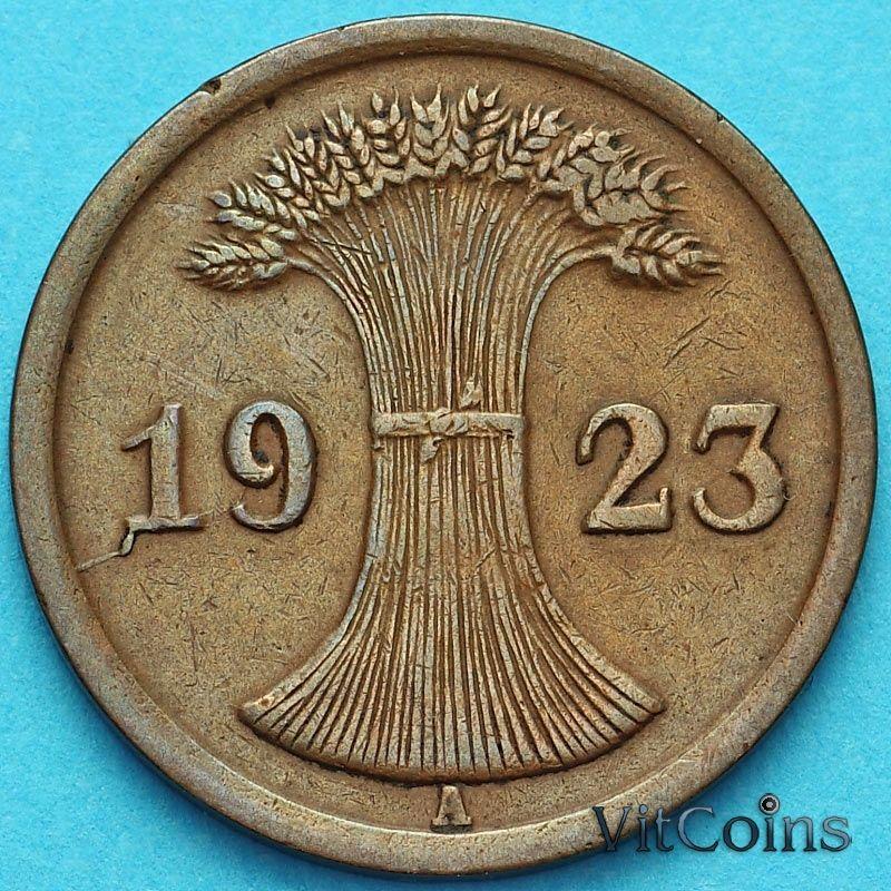 Монета Германия 2 рентенпфеннига 1924 год. А