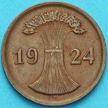 Германия 2 рейхспфеннига 1924 год. Монетный двор D.