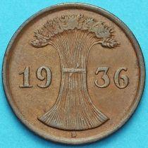 Германия 2 рейхспфеннига 1936 год. Монетный двор D.