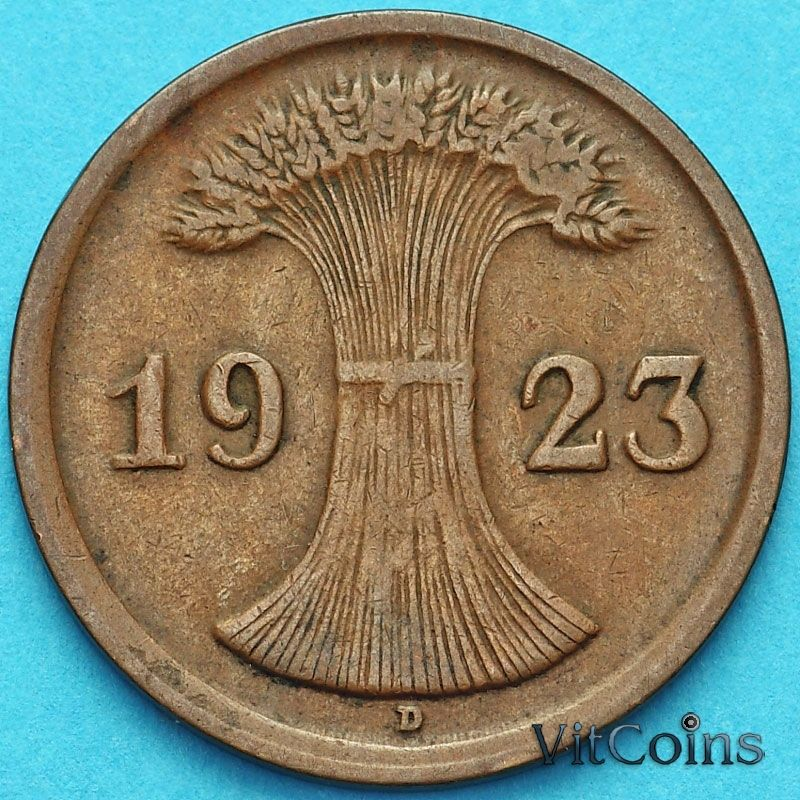 Монета Германия 2 рентенпфеннига 1923 год. D