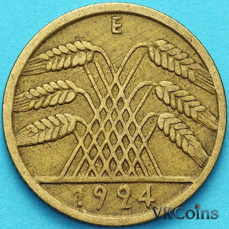Монета Германия 10 рейхспфеннигов 1924 год.Е