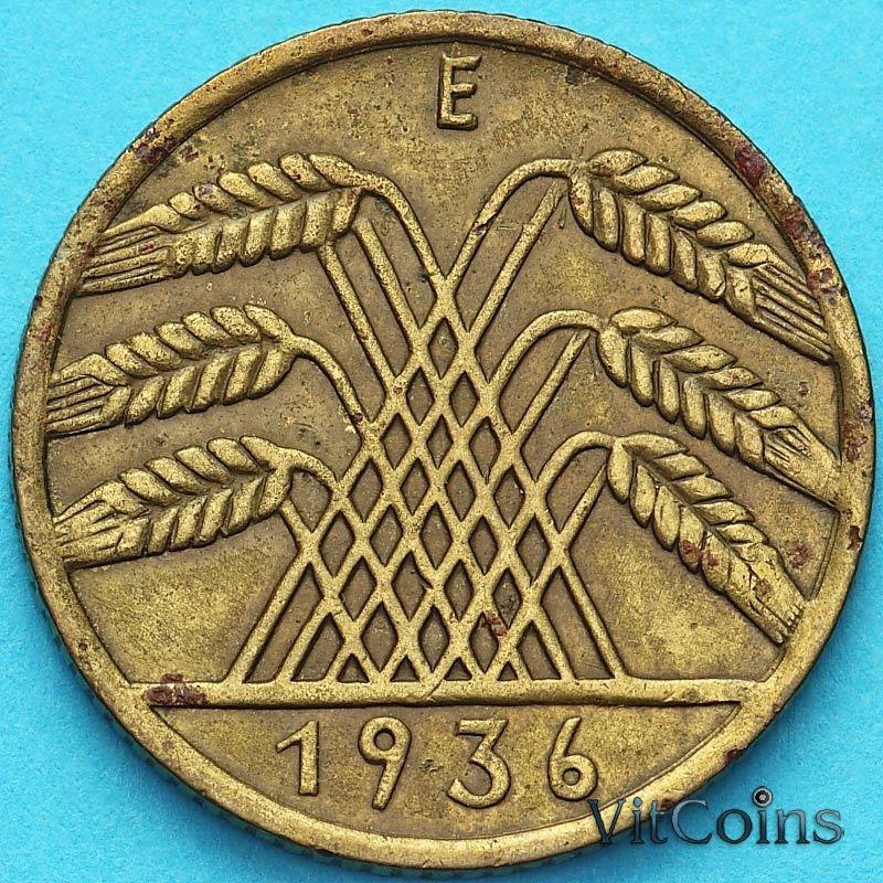 Монета Германия 10 рейхспфеннигов 1936 год.Е