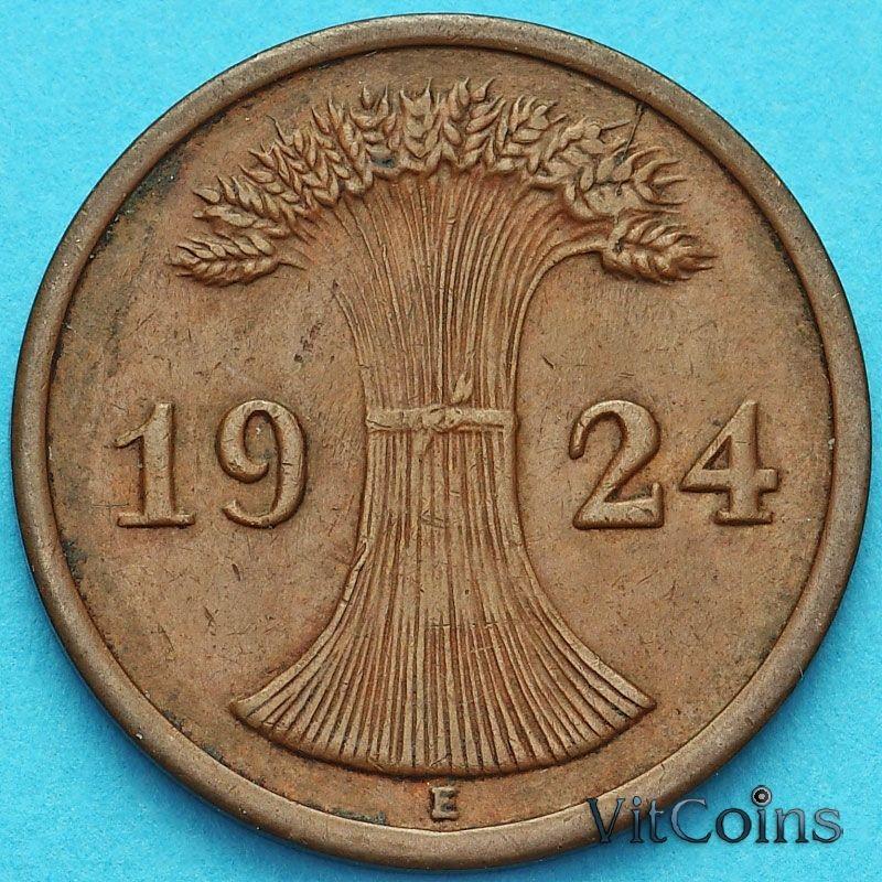 Монета Германия 2 рейхспфеннига 1924 год. Монетный двор Е