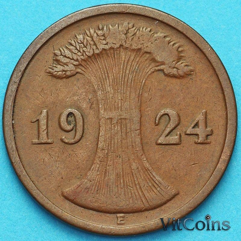 Монета Германия 2 рентенпфеннига 1924 год. Е