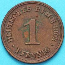 Германия 1 пфенниг 1903 год. F.