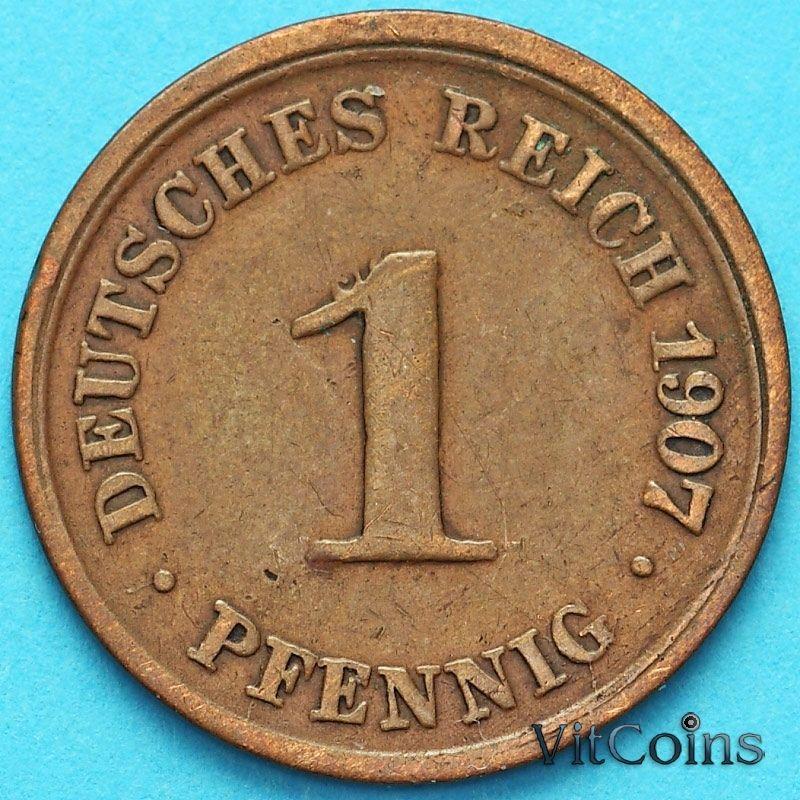 Монета Германия 1 пфенниг 1907 год. F.