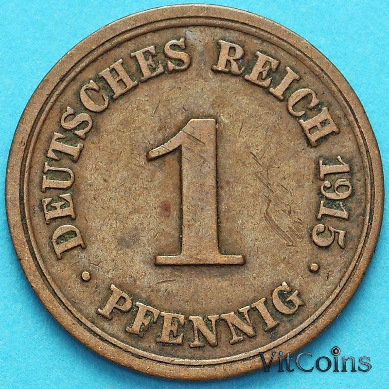 Монета Германия 1 пфенниг 1915 год. F.