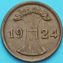 Германия 2 рейхспфеннига 1924 год. Монетный двор F.