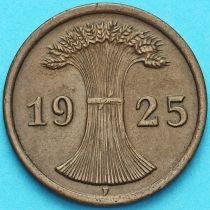 Германия 2 рейхспфеннига 1925 год. Монетный двор F.