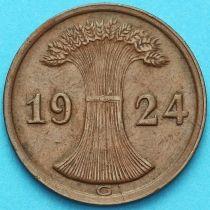 Германия 2 рейхспфеннига 1924 год. Монетный двор G.