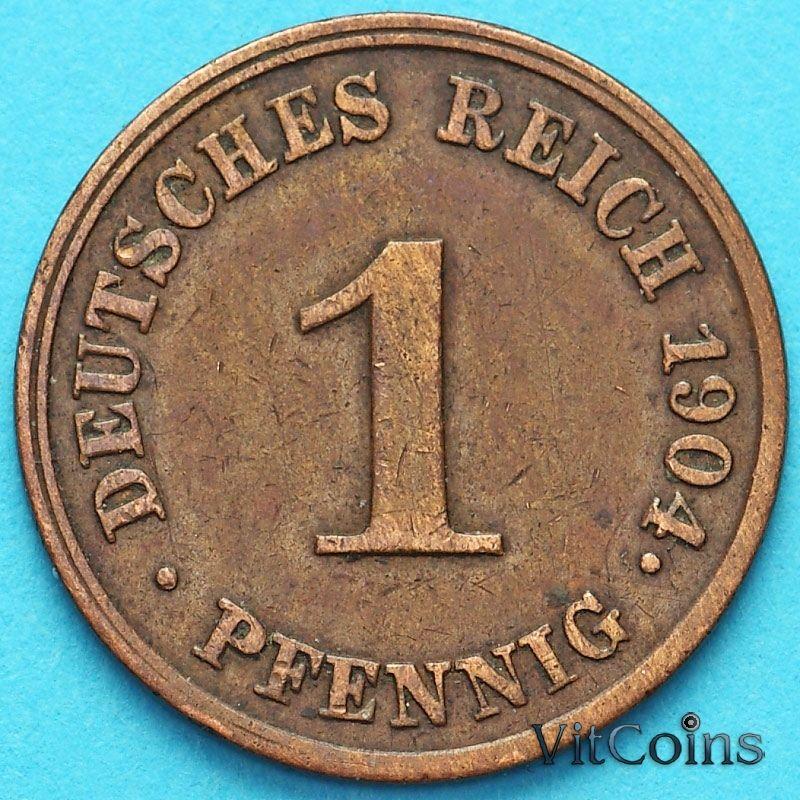 Монета Германия 1 пфенниг 1904 год. J.