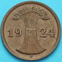 Германия 2 рейхспфеннига 1924 год. Монетный двор J.