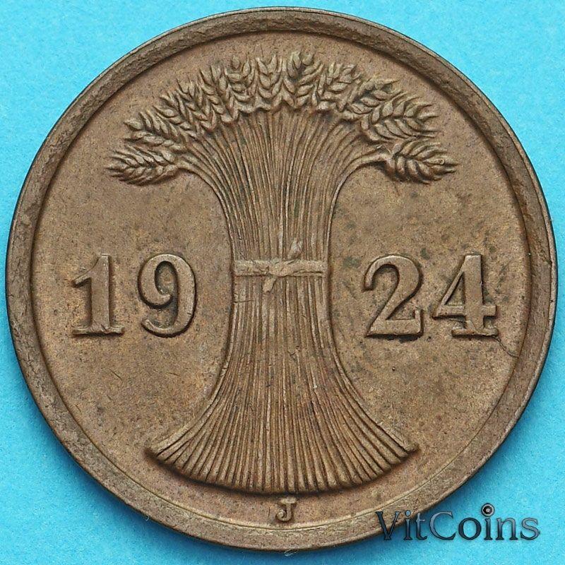 Монета Германия 2 рейхспфеннига 1924 год. Монетный двор J.