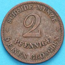 Саксен-Кобург-Гота 2 пфеннига 1856 год. F
