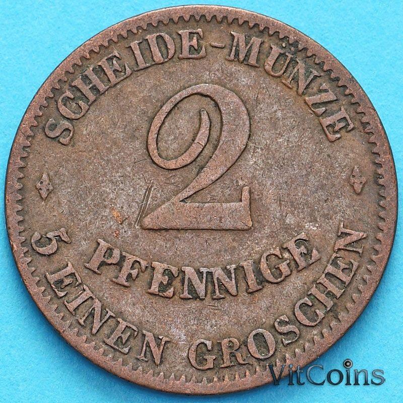 Монета Саксен-Кобург-Гота 2 пфеннига 1856 год. F